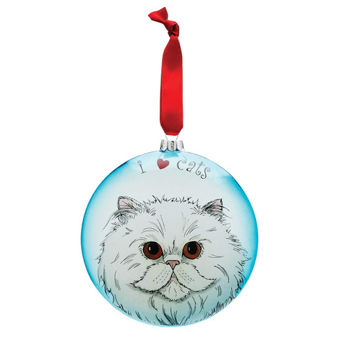 "Playful Persian 5"" Glass Cat Christmas Ornament 45414"