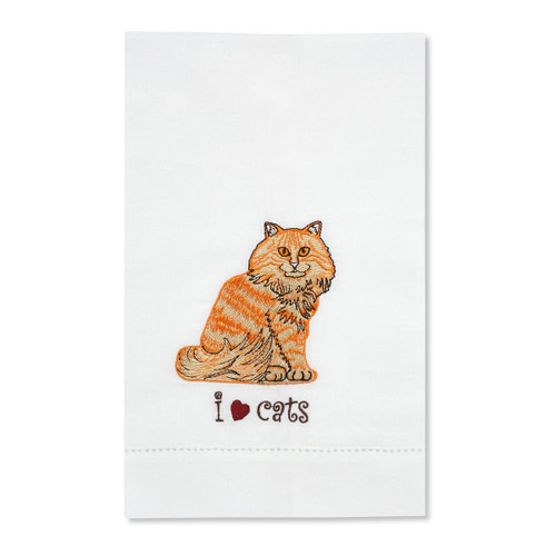 Orange Tabby Embroidered Tea Towel 45415