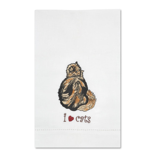 Tortoise Shell Cat Embroidered Tea Towel 45419
