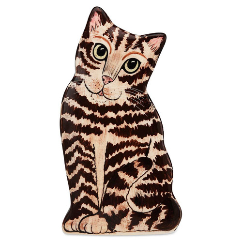 "Brown Tabby 8.5"" Tall Cat Shape Vase 45559"