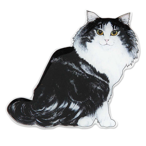 Long Hair Norwegian Cat Shaped Magnet - 45563
