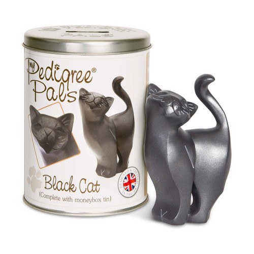 "Black Cat 5"" Figurine & Tin Can Coin Bank 46070"