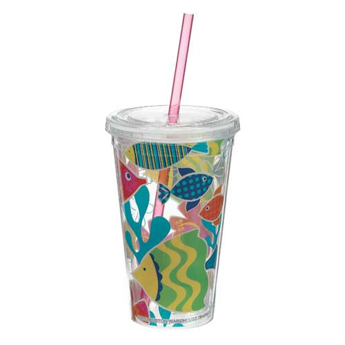 16oz Insulated Tumbler with Straw Under the Sea - 39521