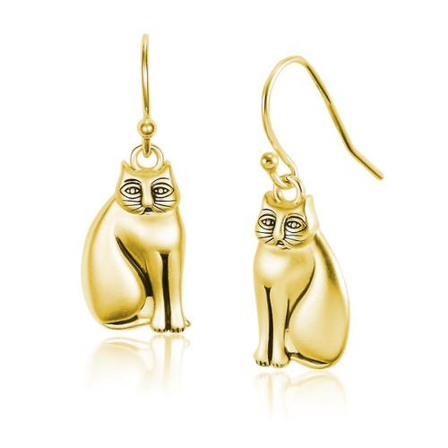 Mystic Cat 14k Gold Plated Laurel Burch Earrings - 4036