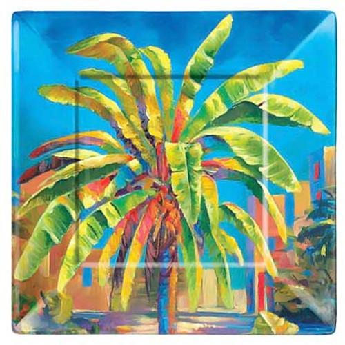 "Palm Tree Blue 8"" Lunch Plate Melamine 39840"