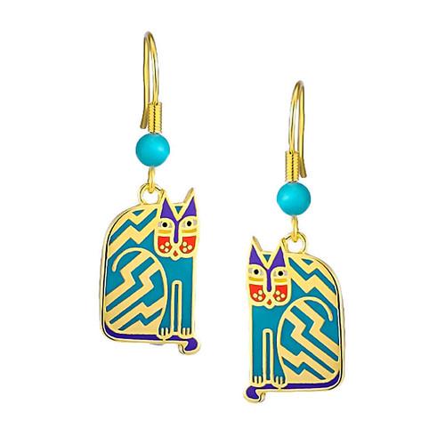 Aztec Cat Laurel Burch Earrings Blue - 5085