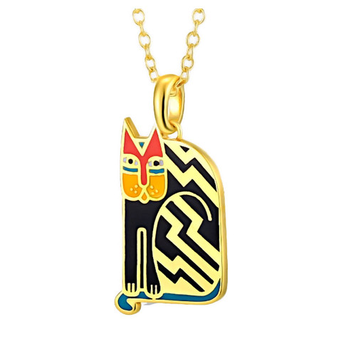 Aztec Cat Laurel Burch Necklace Black - 5086