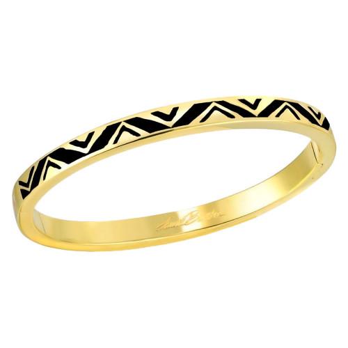 Rain Dance Black Gold-tone Laurel Burch Bangle Bracelet - 6054
