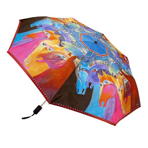 Laurel Burch Compact Folding Umbrella Wild Horses of Fire LBU011A
