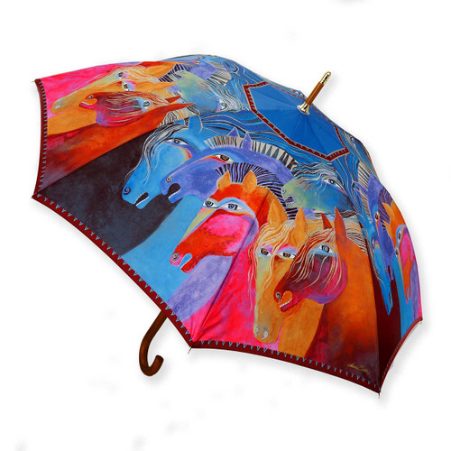 Laurel Burch Stick Umbrella Wild Horses of Fire LBU011S