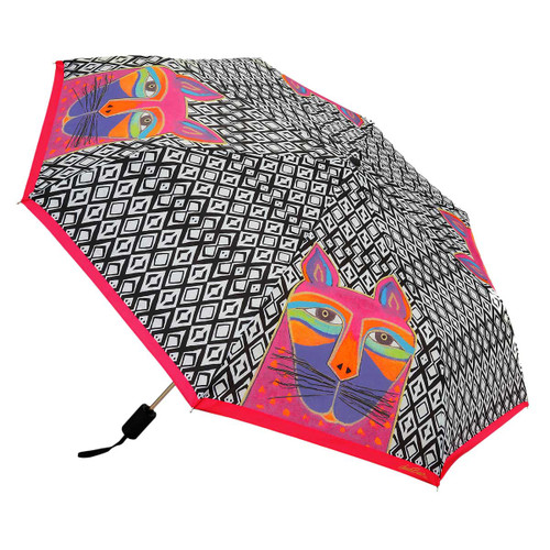 Laurel Burch Compact Folding Umbrella Fuchsia Whiskered Cat LBU013A