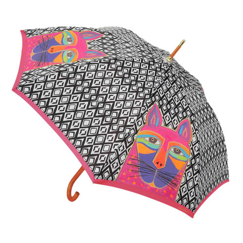 Laurel Burch Stick Umbrella Fuchsia Whiskered Cat LBU013S