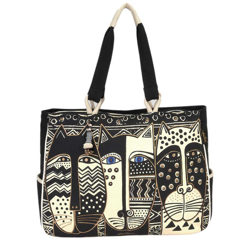 Laurel Burch Wild Cat Black White Oversized Tote - LB5800