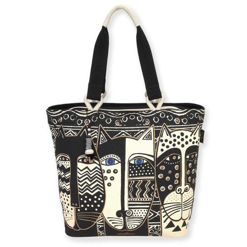Laurel Burch Wild Cat Black White Shoulder Tote - LB5801