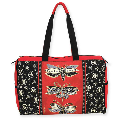 Laurel Burch DragonFly Red Black Travel Tote Bag LB5810