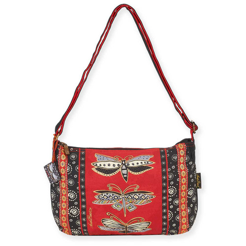 Laurel Burch Dragonfly Black Red Medium Crossbody Tote - LB5813