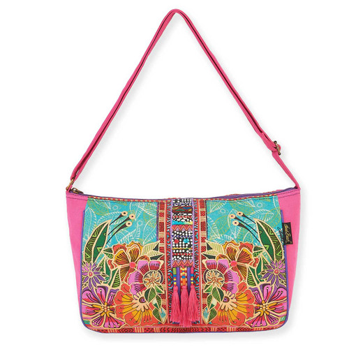 Laurel Burch Colorful Flora Floral Medium Crossbody Tote - LB5823