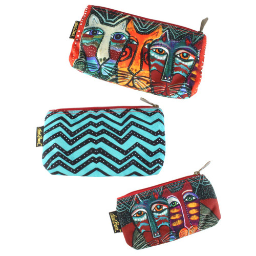 Laurel Burch Set of 3 Cosmetic Bag Gatos Cat LB5874