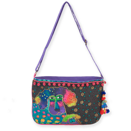 Laurel Burch Poodle and Pup Medium Crossbody Tote - LB5863