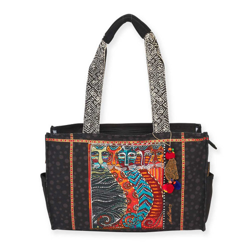 Laurel Burch Gatos Feline Cats Medium Pocket Tote - LB5872