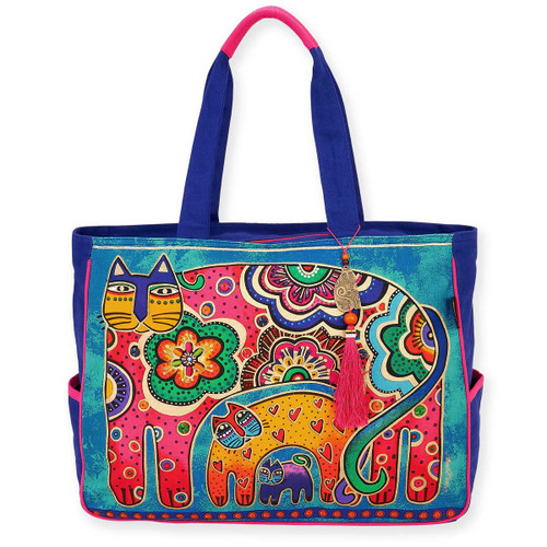 Laurel Burch Bohemian Whiskers Cats Oversized Tote - LB5880