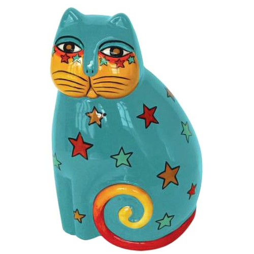 Laurel Burch Yellow Stars Cat Feline Ceramic Figurine LB26033