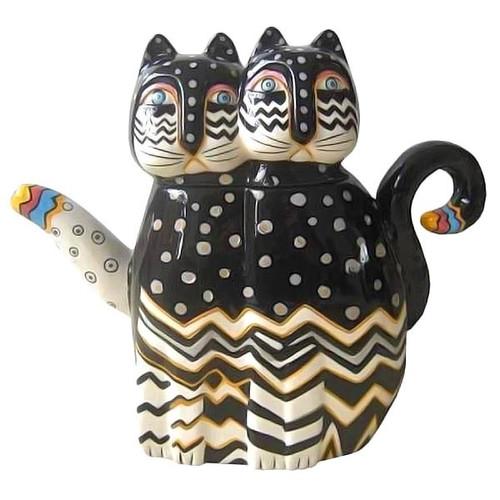 Laurel Burch Zig Zag Cat Shape Teapot - 26024