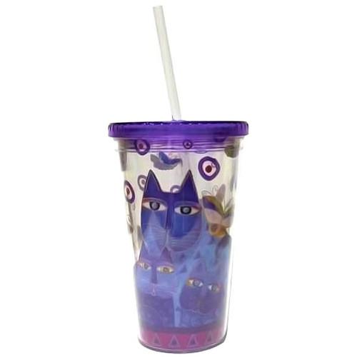 Laurel Burch Indigo Cats Acrylic 16oz Tumbler Lid Straw - 26043
