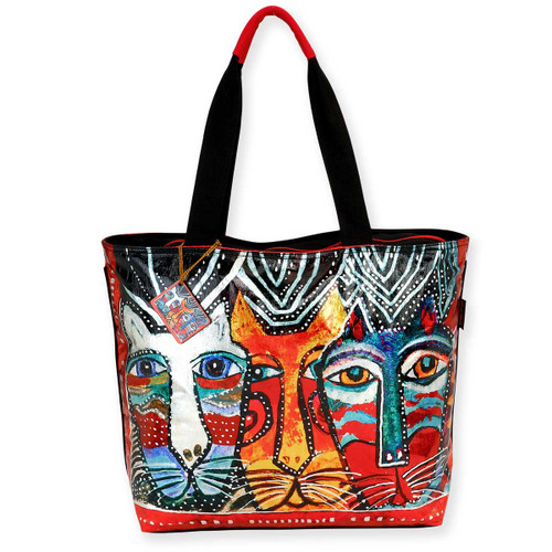 Laurel Burch Foiled Gatos Feline Cats Shoulder Tote - LB5910A
