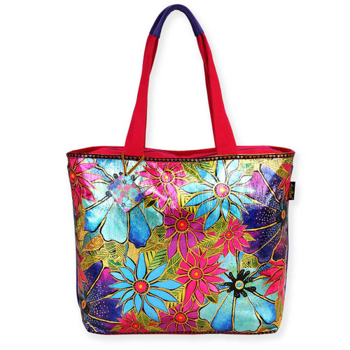 Laurel Burch Foiled Teal Purple Florals Shoulder Tote - LB5910C