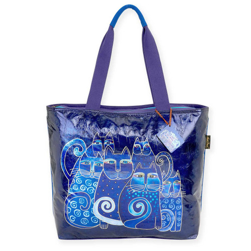 Laurel Burch Foiled Indigo Cats Shoulder Tote - LB5910D
