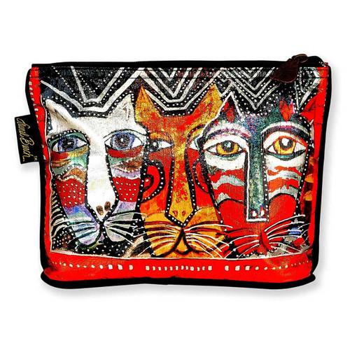 Laurel Burch 10x6 Foil Cosmetic Bag Gatos Cat LB5903A