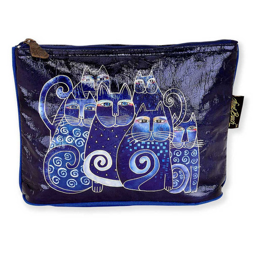 Laurel Burch 10x6 Foil Cosmetic Bag Indigo Cats LB5903D