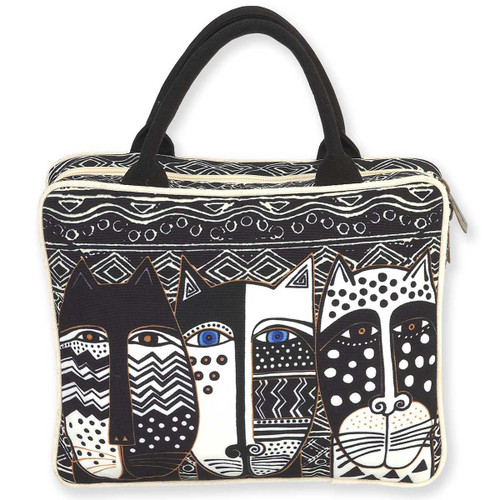Laurel Burch Large Cosmetic Bag Wild Cat Black White LB5900A