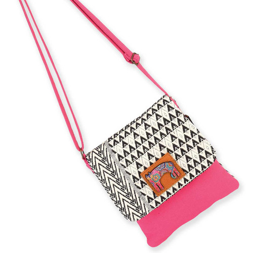 Laurel Burch Bohemian Whiskers Cats Flap Over Woven Crossbody Tote - LB5905A