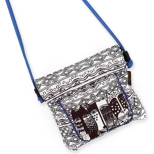 Laurel Burch Wild Cat Black White Flap Over Crossbody Tote - LB5904E
