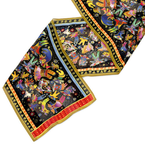 "Laurel Burch Silk Scarf ""Feline Fairies"" - LBS144"