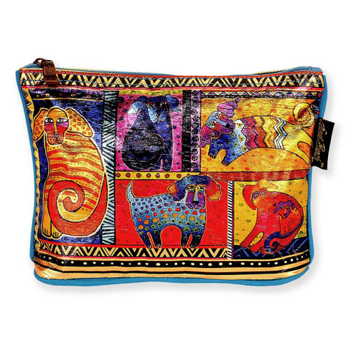 Laurel Burch 10x7 Foil Cosmetic Bag Dog Tails Patchwork LB5903F