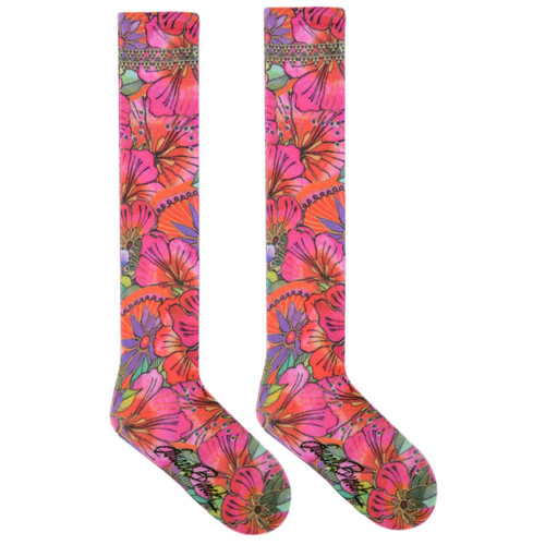 Laurel Burch Colorful Floral Blossoms KNEE High Socks LBWF16N002-01