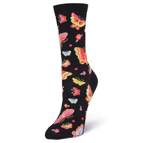 Laurel Burch Flying Colors Butterflies Crew Socks LBWS16H048-01