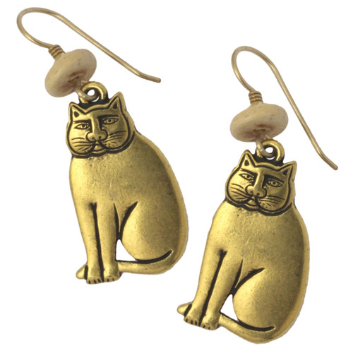 Mystic Cat GoldTone Cast Laurel Burch Drop Earrings - LB010G