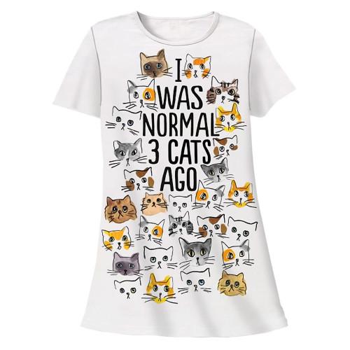"Cat Theme Sleep Shirt Pajamas ""Normal 3 Cats Ago"" - 503OT"