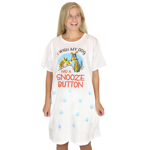 "Dog Theme Sleep Shirt Pajamas ""Wish Dog Had Snooze Button"" - 378OT"