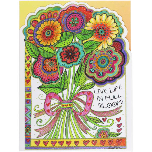 Laurel Burch Birthday Card - Live Life in Full Bloom BDG17626