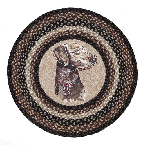 "Dakota Round Patch Jute Dog Rug 27"" RP-313"