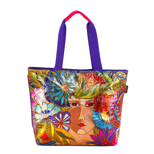 Laurel Burch Foil Blossoming Woman Shoulder Tote - LB5960