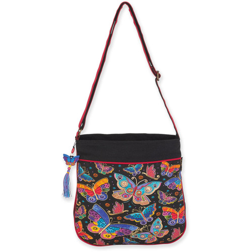 Laurel Burch Butterflies Canvas Crossbody Tote - LB6133