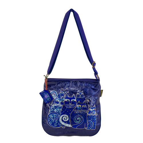 Laurel Burch Indigo Cats Foiled Crossbody Tote - LB6251