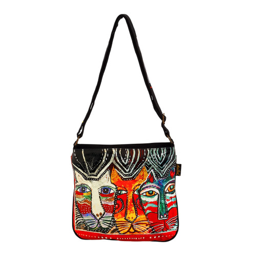 Laurel Burch Gatos Cats Foiled Canvas Crossbody Tote - LB6271