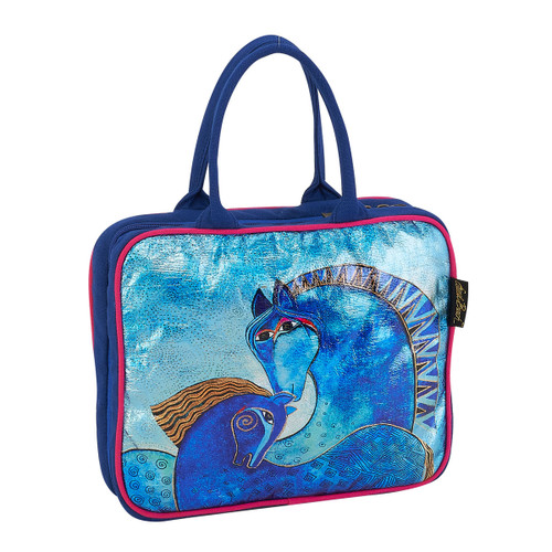 Laurel Burch Teal Mares Foiled Canvas Cosmetic Travel Tote LB5923A